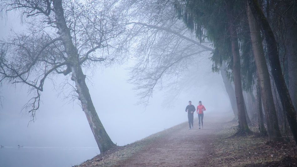A couple jogging at the Isar Adult Adults Only Adventure Beauty In Nature Cold Temperature Day Fog Full Length Jogging Landscape Leisure Activity Lifestyles Men Nature Only Men Outdoors People Real People Sky Snow Sportsman Tree Two People Walking Winter