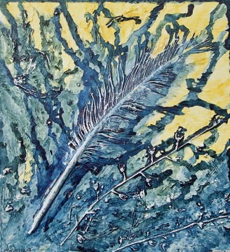Maggies feather Abstract Acrylic Painting Backgrounds Blue Close-up Day Dried Seed Heads Feather  Full Frame Indoors  Ink Nature No People Paint Pattern Textured  White Yellow