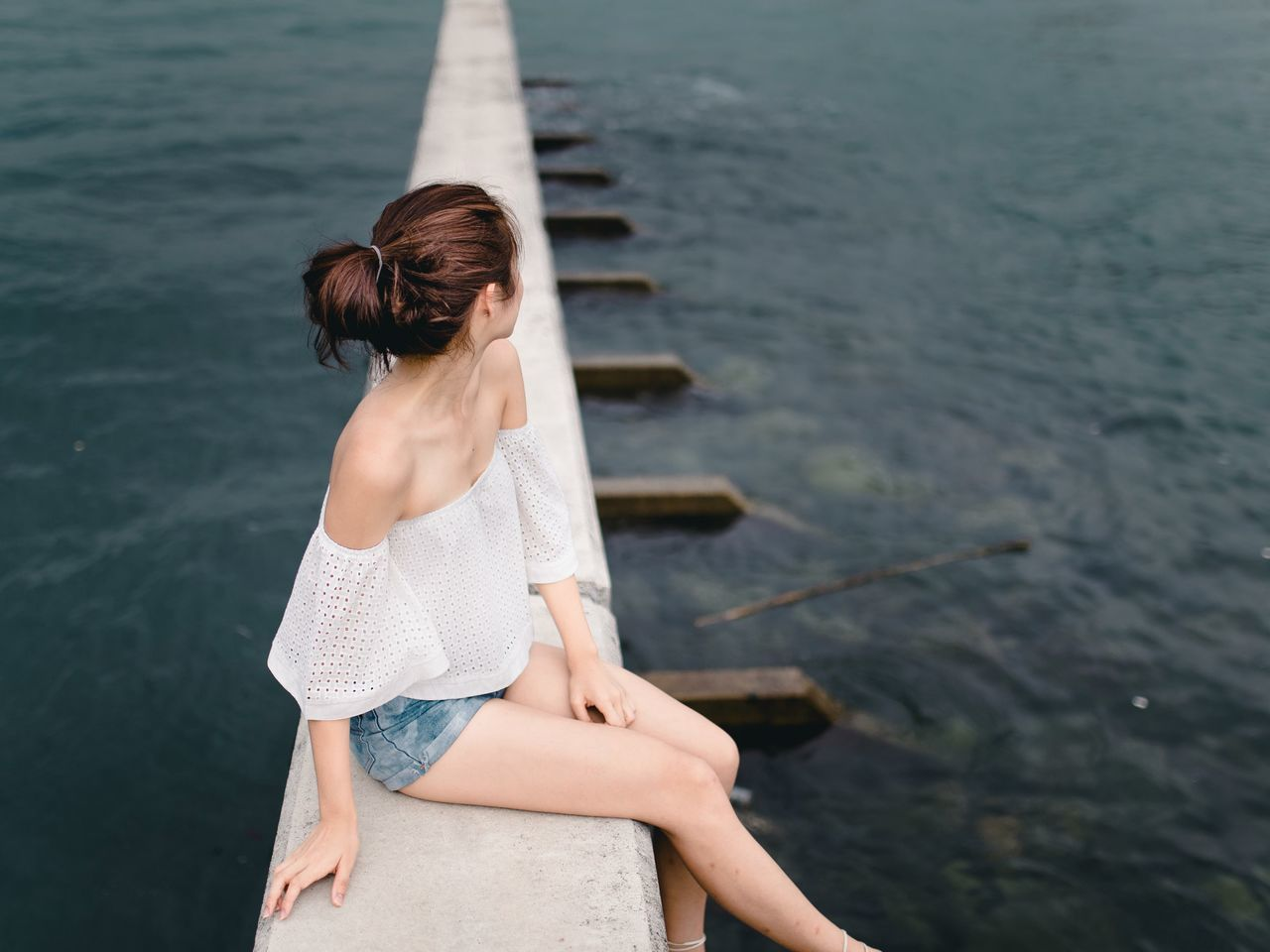 by the sea Water Summer Beauty Outdoors Sea One Woman Only Relaxation Beautiful People Women Of EyeEm Natural Light Portrait Nature Water_collection Nature Photography Clean Architecture_collection Architecture