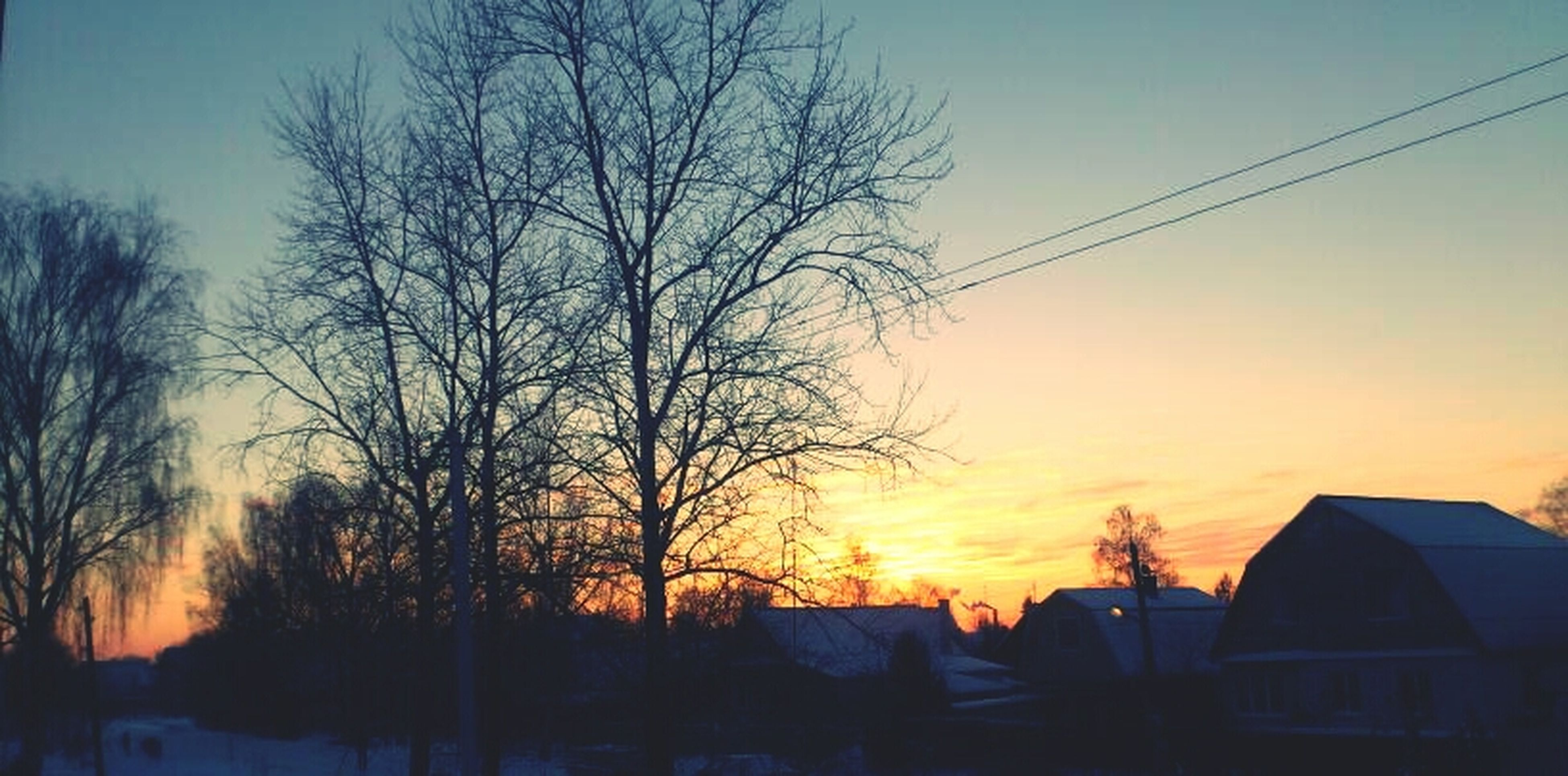 sunset, bare tree, silhouette, building exterior, architecture, tree, built structure, orange color, sky, house, branch, low angle view, power line, beauty in nature, nature, residential structure, scenics, outdoors, no people, tranquility