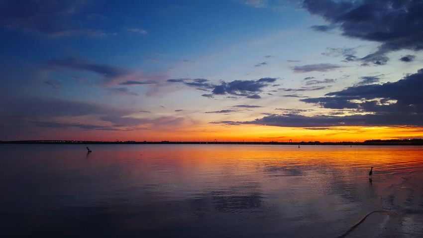 Water Tranquil Scene Scenics Tranquility Sunset Beauty In Nature Sky Idyllic Waterfront Blue Calm Nature Reflection Cloud Orange Color Cloud - Sky Non-urban Scene Moody Sky Ocean Outdoors Check This Out Hanging Out Amazing View Beauty In Nature Vibrant Color