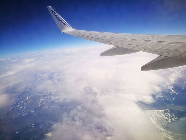Airplane Flying Aircraft Wing Aerial View Travel Cloud - Sky Sky Modern High Up Landscape No People Outdoors Private Airplane Day Aerospace Industry Cold Temperature High Angle View Trip Aeroplane Ryanair Aerial Shot Aerial Photography Airplane Wing Air Vehicle Transportation