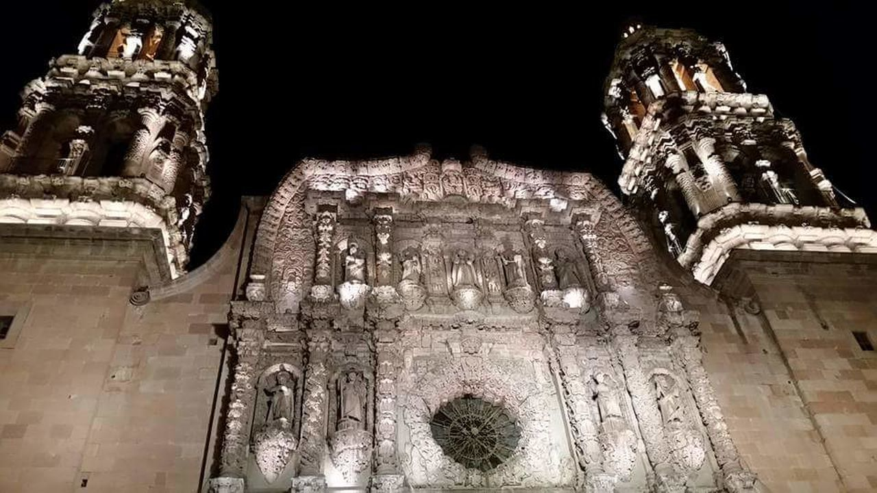 Church Architecture Old Church Catolic Night Lights Zacatecas Mexico Catedral Catedral Basílica De Zacatecas Illuminated