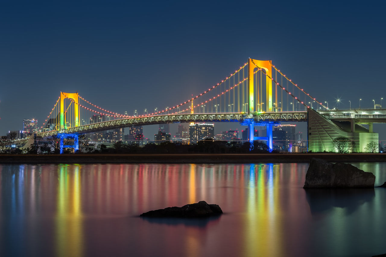 Rainbow bridge, Japan. Architecture Bridge - Man Made Structure City Cityscape Cloud - Sky Japan Long Exposure Night Nightphotography No People Odaiba Outdoors Rainbow Bridge Reflection River Sky Skyscraper Suspension Bridge Tokyo Tourism Transportation Travel Travel Destinations Water