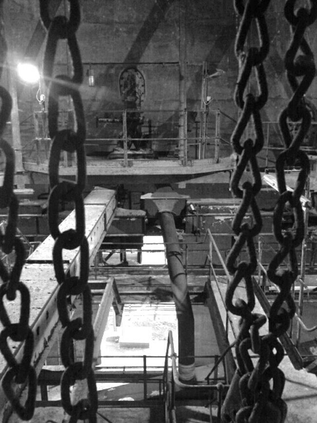 Blackandwhite At Work Industrial Chains Scary Places