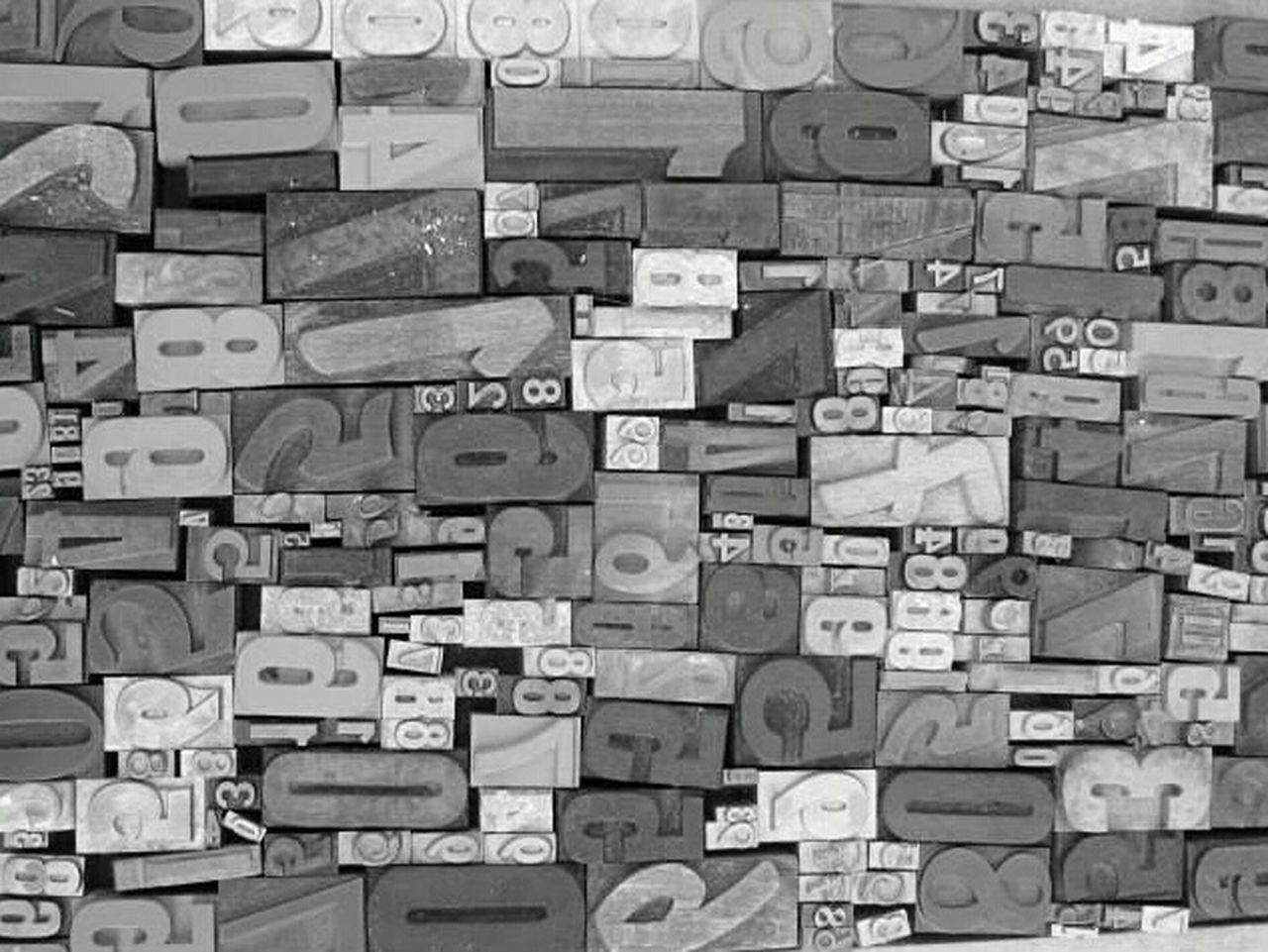Letters Numbers Blocks Printing Vintage Black And White Photography Wood Metal