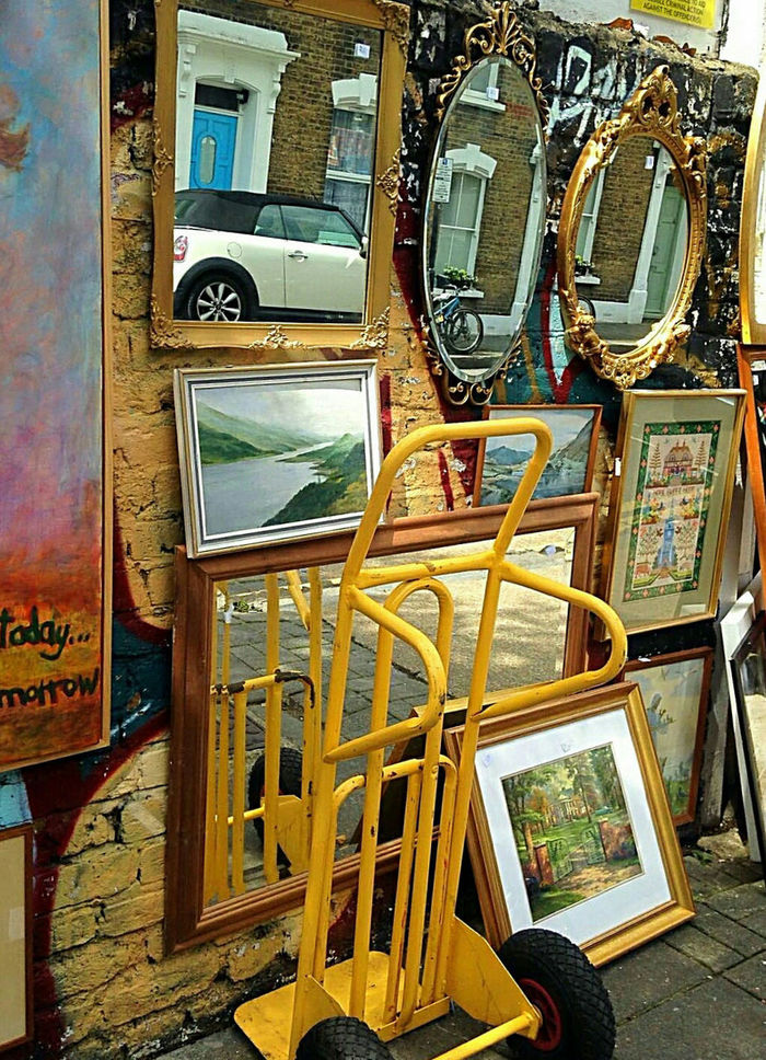 Flea Market Street Trader Dealer Picture In Picture Mirrors Reflections Reflections In The Mirror ArtWork Paintings Pictures On The Wall Trolley The Week On Eyem Eyeem Marketplace EyeEm Gallery Colour Photography Outdoor Photography Street Photography Reflection_collection