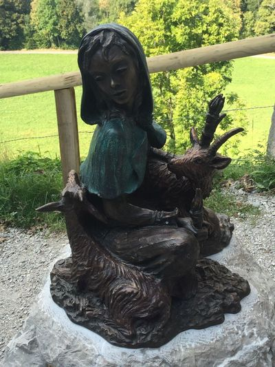 Green Color Day Gruyères Statue Chevriere Girl Goat Sculpture