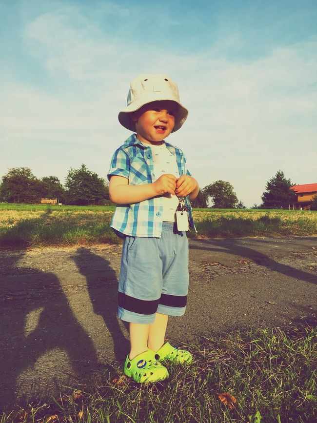 MY SON Front View Person Sunlight Sunny Day Field Lifestyles Happiness Looking At Camera Smiling Vacations First Eyeem Photo