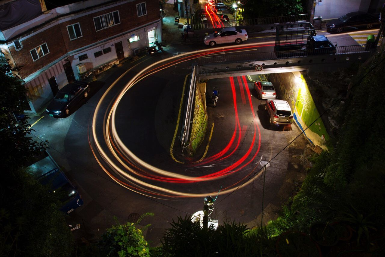Transportation Car Road Motion Light Trail Night On The Move Land Vehicle Long Exposure Illuminated Mode Of Transport Blurred Motion City High Angle View Street Speed Traffic Connection Built Structure City Life Ewha Wall Picture Village South Korea
