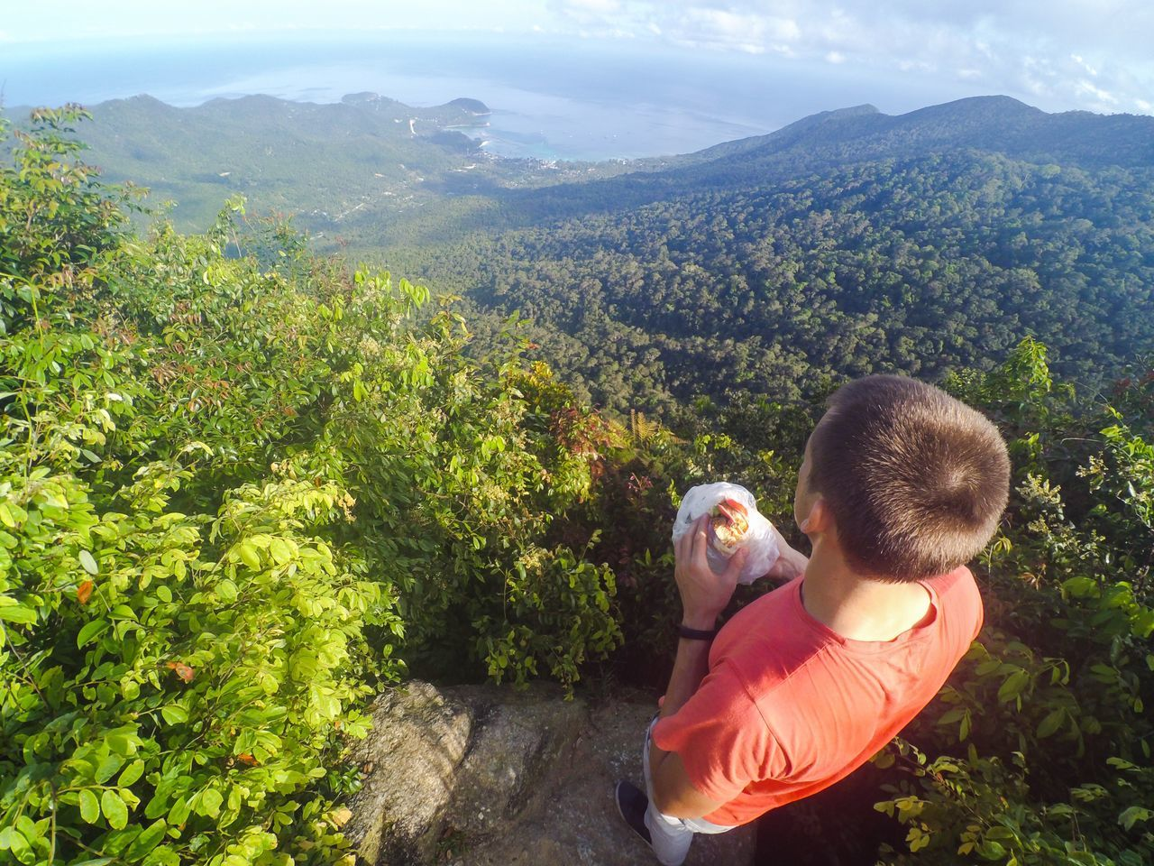 Admiration Adult Adults Only Beauty In Nature Eco Tourism Hiking Koh Phangan Landscape Lush Foliage Males  Morning Mountain Mountain Range Nature Outdoors People Rear View Sky Standing Thailand Tree Two People Vacations View From Above Young Adult