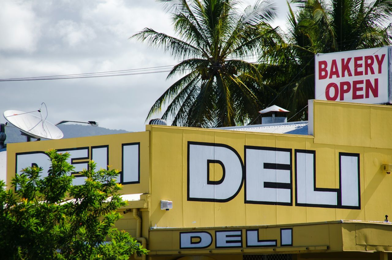 Bakery Deli Open Australia & Travel Cairns Shop Typography Food Shopping Tropical Coconut Trees Eye4photography  Australia TypoWords Streetphoto_color Color Design Space My Eyes My Australia Typo Around The World