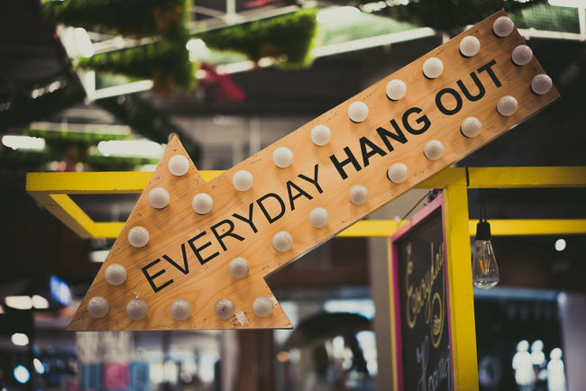 Everyday Hangout Sign Signboard Text