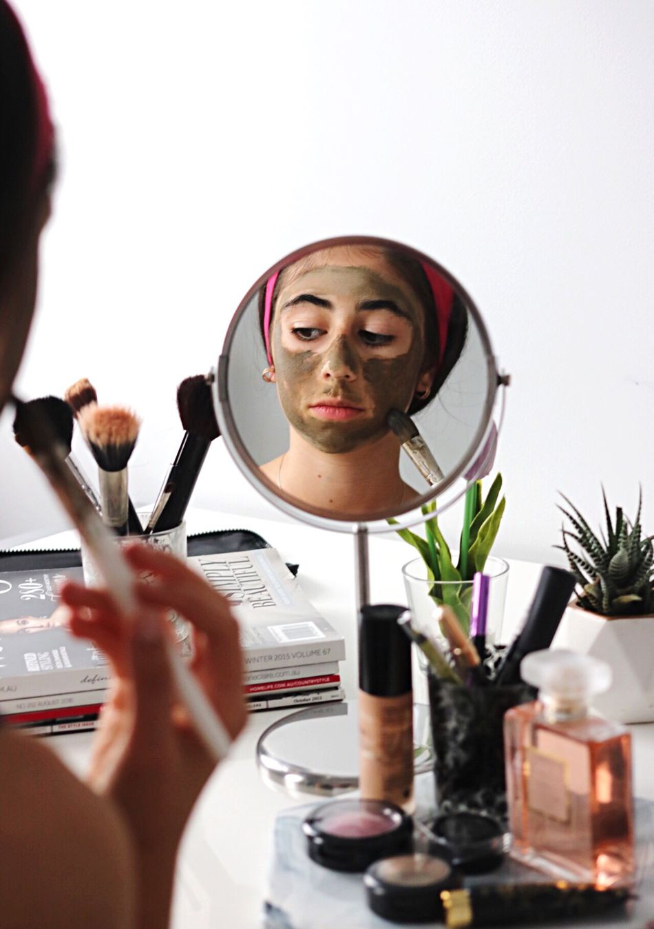 Make-up Brush Make-up Beauty Product Mirror Applying Indoors  Beauty Face Powder Mascara Self Improvement Young Adult Beautiful Woman Women Human Body Part Adult One Person Young Women People Day
