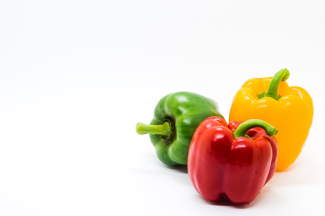 Bell Pepper Close-up Copy Space Food Food And Drink Freshness Healthy Eating No People Red Bell Pepper Studio Shot Vegetable White Background