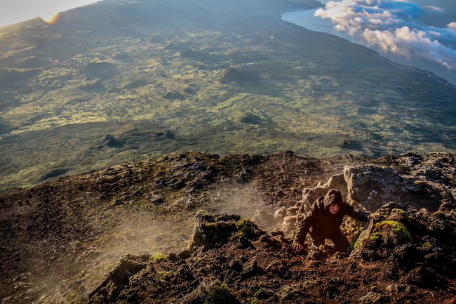 Adventure Azores Climbing High Angle View Landscape Morning Mountain Mountain Peak Nature One Person People Picoftheday Sky Vulcano
