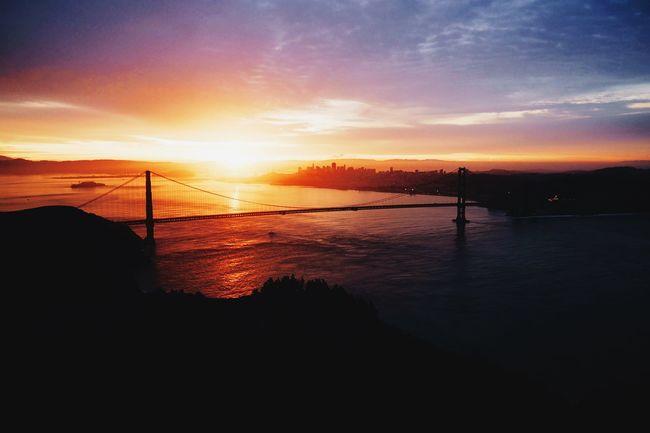 Beautiful Destinations Beauty In Nature Bridge - Man Made Structure Cloud - Sky Golden Gate Bridge Nature Outdoors San Francisco Sea Sky Sun Sunset Sunset_collection The Bay Area Water