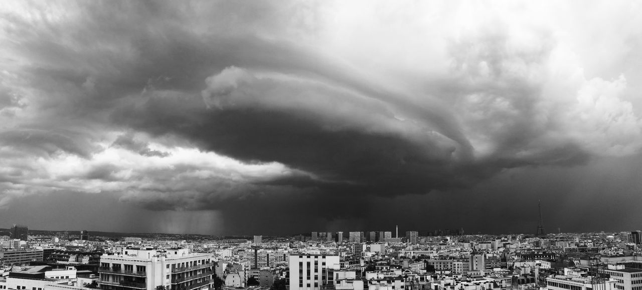 Architecture Black And White Building Exterior Built Structure City Cityscape Cloud - Sky Day No People Outdoors Panoramic Paris Residential Building Sky Storm Cloud Storme Thunderstorm Tour Eiffel Black And White Weather
