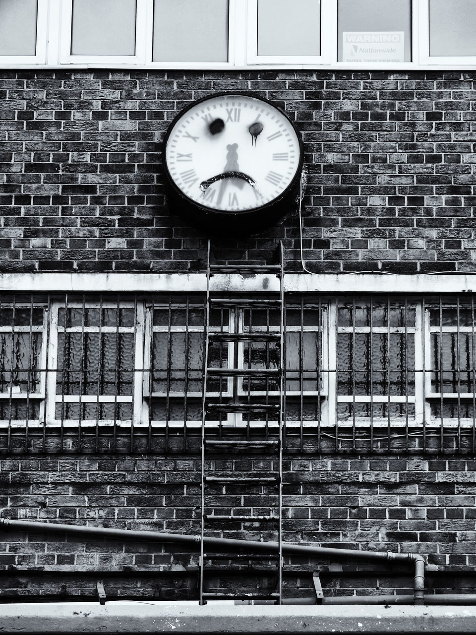 clock, brick wall, no people, time, day, architecture, built structure, indoors, close-up, clock face
