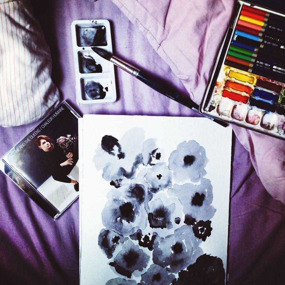 Christineandthequeens Music Paint Painting Flowers Blackandwhite Art Artistic Artist Aquarell