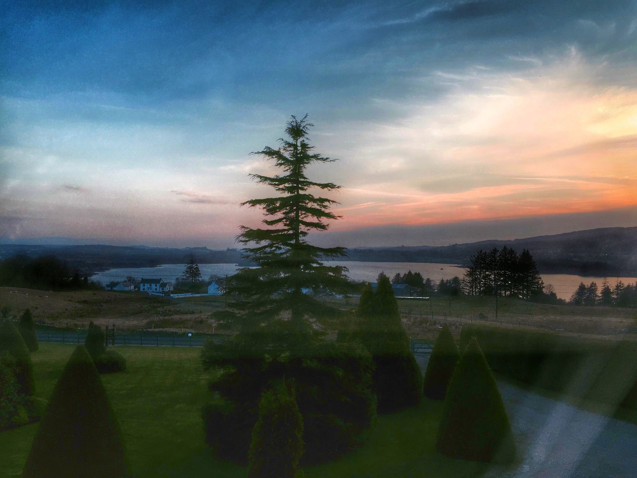 View from our window of Lough Eske Relaxing Traveling Enjoying Life HDR Sunset Sunset_collection Streamzoofamily EyeEm Nature Lover Lake Nature Pastel Power Landscape Beautiful Nature