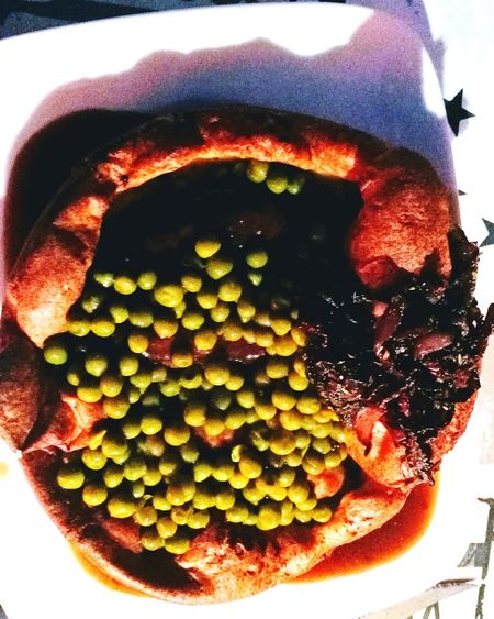 English Toad in the Hole! Yorkshire Pudding Peas Caramelised Onions Food Stories No People Close-up Freshness Nature Food Day Outdoors