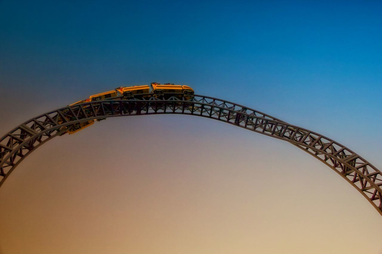 Beautiful stock photos of roller coaster, Amusement Park, Amusement Park Ride, Arts Culture And Entertainment, Clear Sky