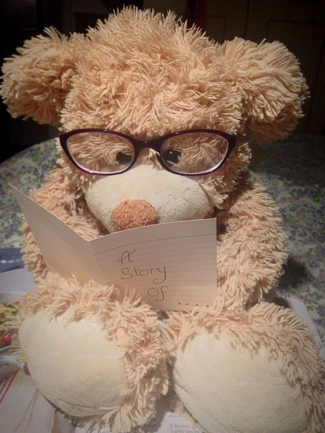 Bedtime Stories Stuffed Toy Bear Storytelling Book Teddybear Teddy Text Eyeglasses  Indoors  Communication Paper No People Close-up