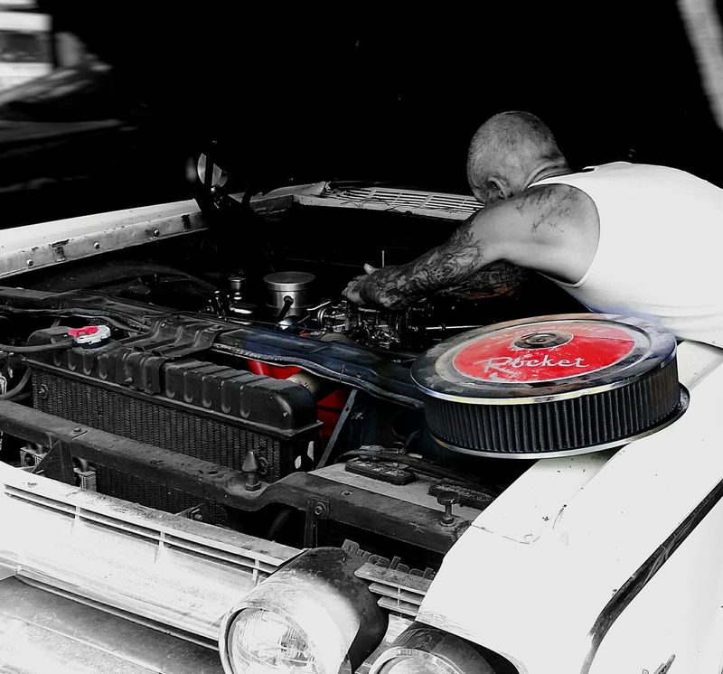 Hanging Out Taking Photos Check This Out Relaxing Enjoying Life Friends Ivory EyeEm Gallery Houston Texas Cars Classic Cars Motor Engine Hood White Car Man At Work Mechanic Tattoos Garage Outdoor Gas Start Ignition Carburator Filter