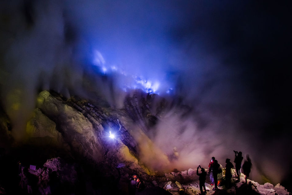 Beauty In Nature Blue Fire Blue Fire Crater Blue Fireworks Blue Flame Blue Sulfer Flames East Java INDONESIA Kawah Ijen Volcano Nature Night Outdoors Scenics Sulfer Mining Sulfur Gas Sulfur Rock First Eyeem Photo