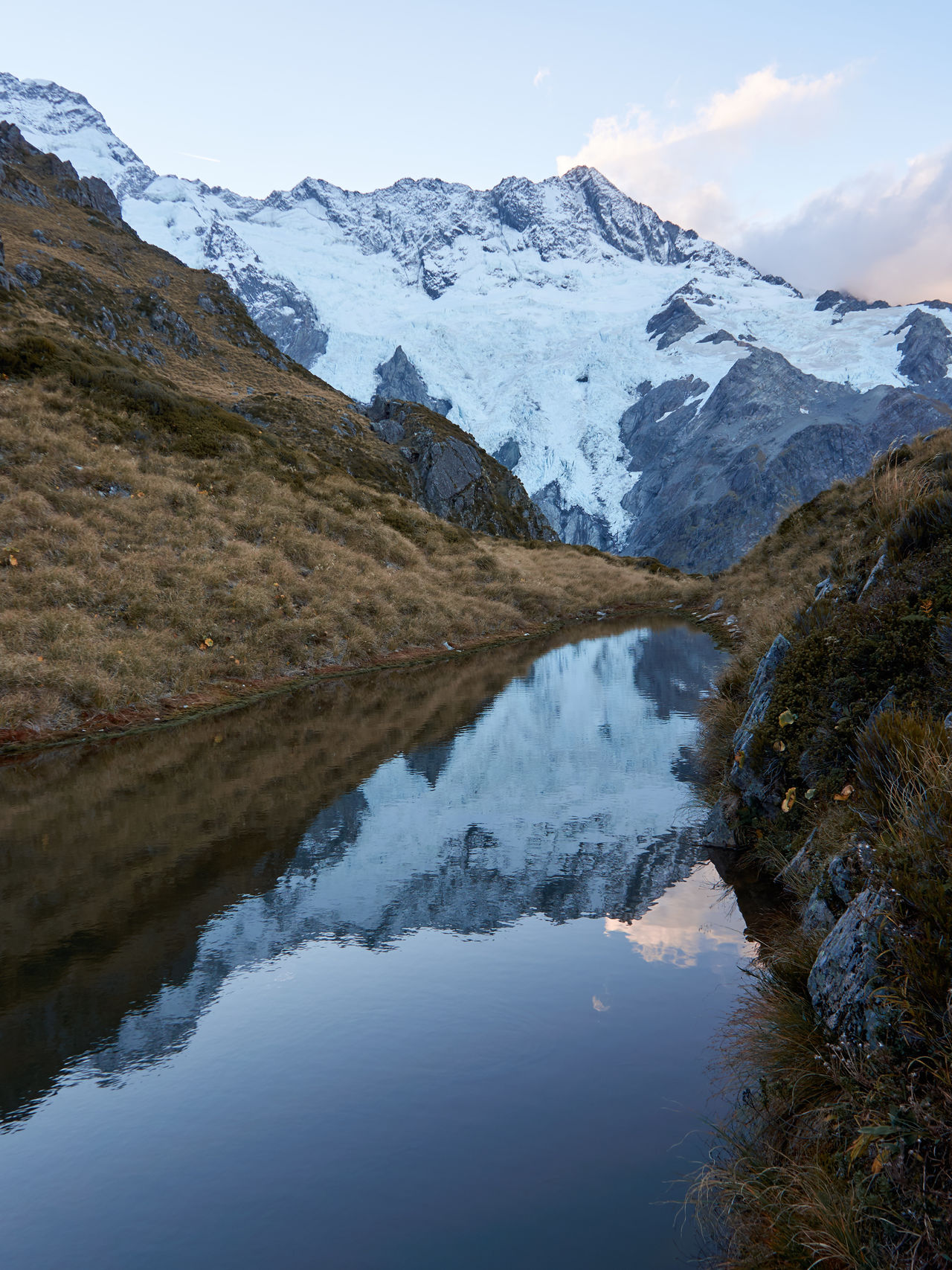 Mt Cook / Canterbury / South Island / New Zealand Day Hiking Lake Landscape Mountain Mountain Range Nature No People Outdoors Reflection Scenics Sky Snow Water