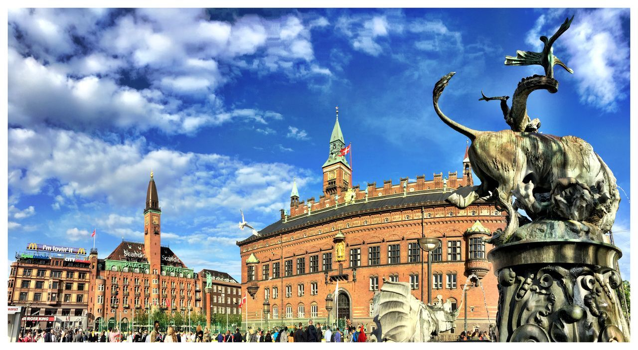 Main Square Historical Building Town Hall Blue Sky Copenhagen