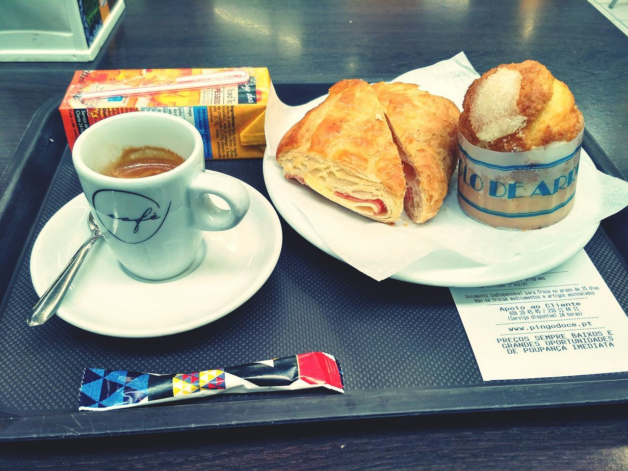 food and drink, plate, food, coffee cup, table, coffee - drink, drink, croissant, refreshment, saucer, serving size, indoors, freshness, breakfast, ready-to-eat, bread, no people, snack, unhealthy eating, tray, day, close-up