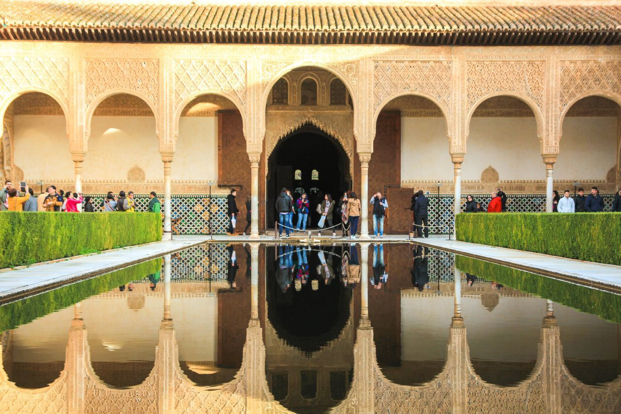 Adult Adults Only Arch Architectural Column Architecture Building Exterior Built Structure Day Granada Indoors  Large Group Of People Nature People Real People Reflecting Pool Reflection Symmetry Travel Travel Destinations Vacations Water