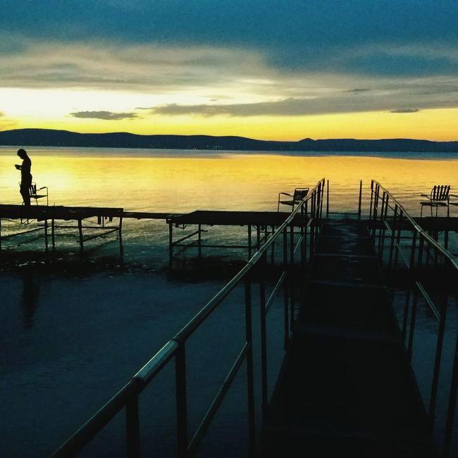 Nature Sky Fishing Lake Sunset Water First Eyeem Photo Summer Childhood Childhood Memories Orangeandblue Holiday