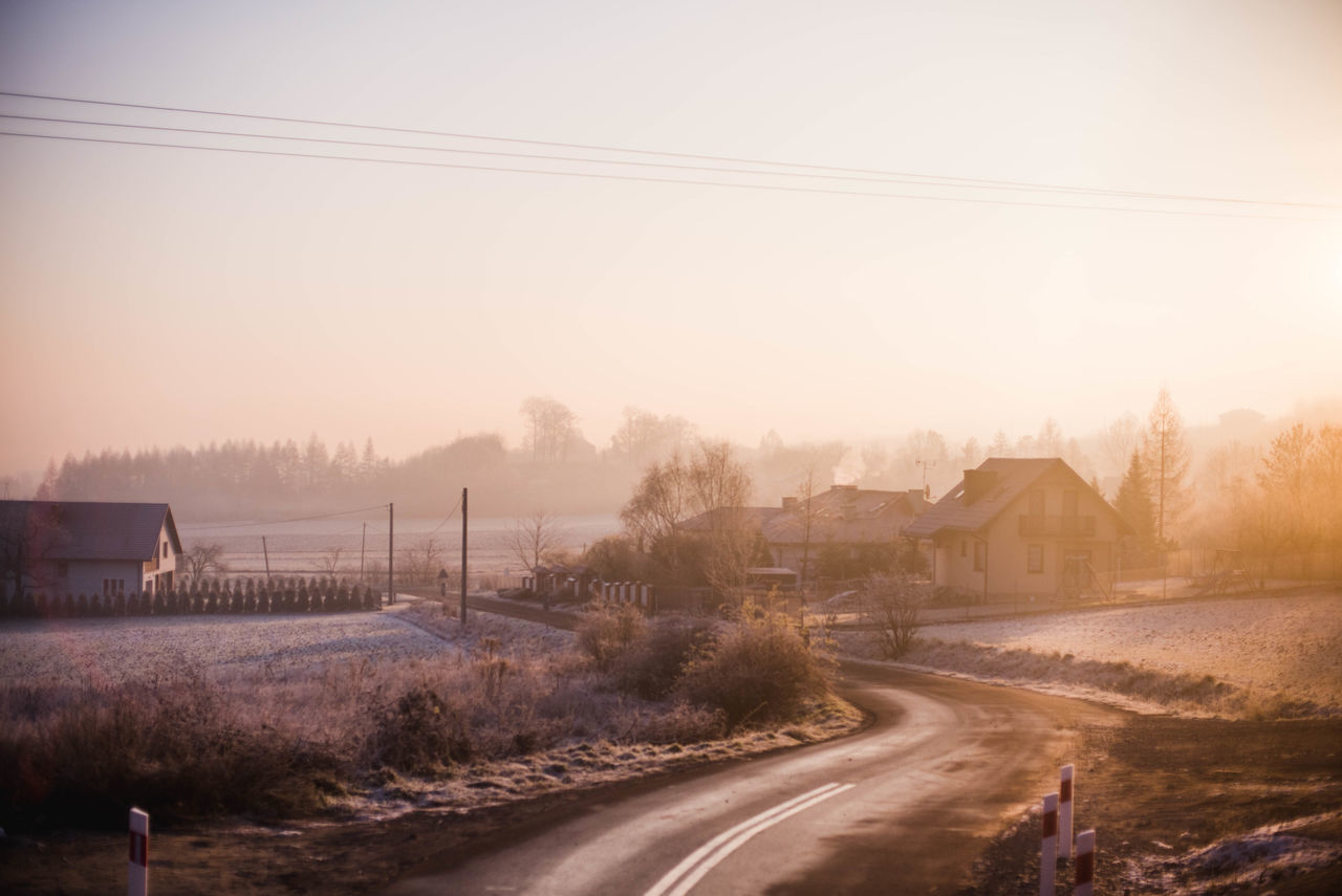 Country Road Countryside Empty Frost Frosty Mornings Non-urban Scene Orange Sky Power Line  Road Solitude Street Sunrise Tranquil Scene Transportation Winter Winter Morning