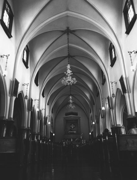 Arch Indoors  Ceiling Architecture Hanging Church Interior Monserrate, Bogotá Blackandwhite Photooftheday Photographic Memory Built Structure Architecture Streets Chruch Religion History Black And White Friday