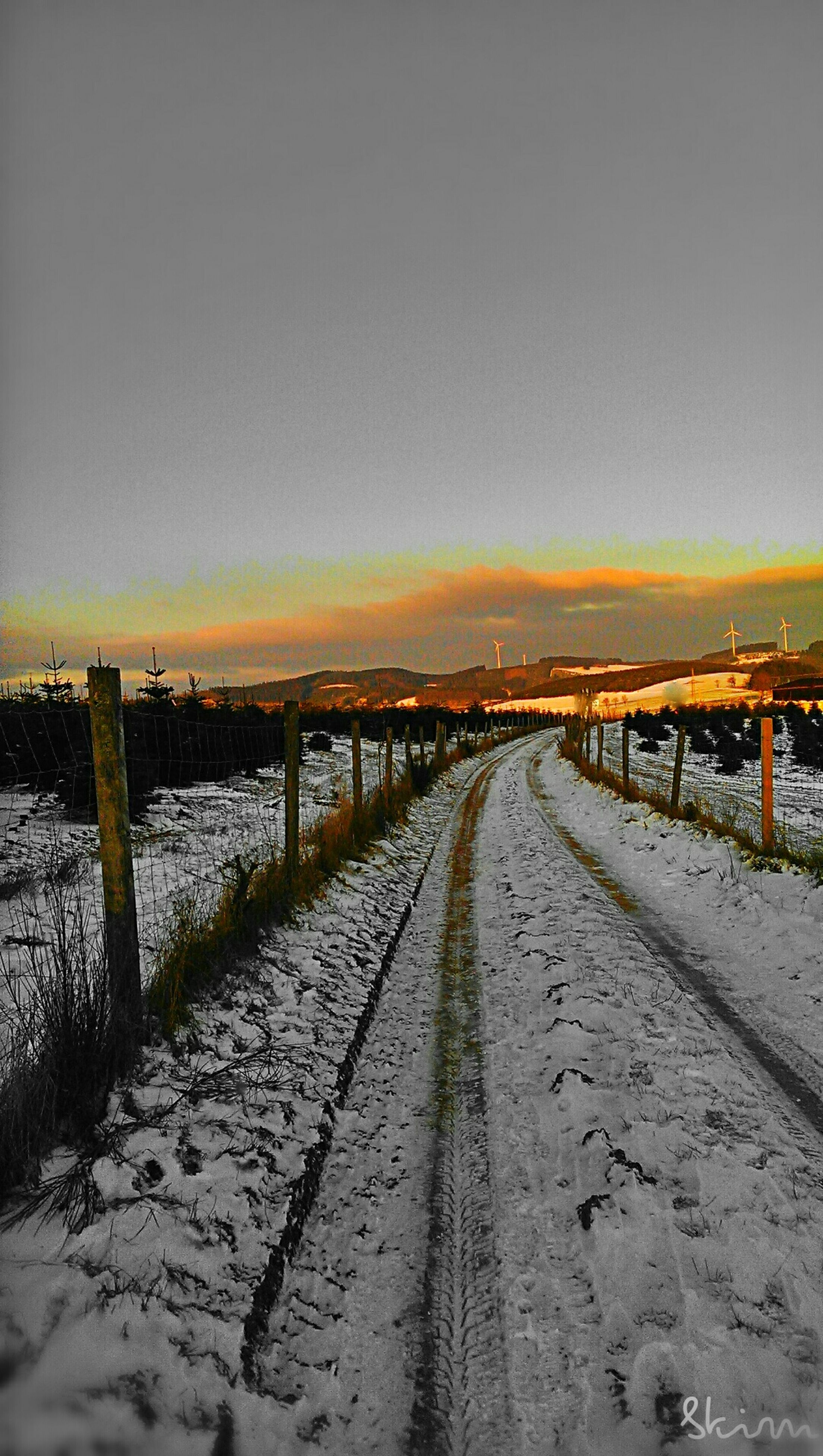 the way forward, diminishing perspective, vanishing point, tranquility, winter, tranquil scene, snow, cold temperature, weather, nature, long, season, clear sky, scenics, copy space, landscape, sky, beauty in nature, sunset, empty