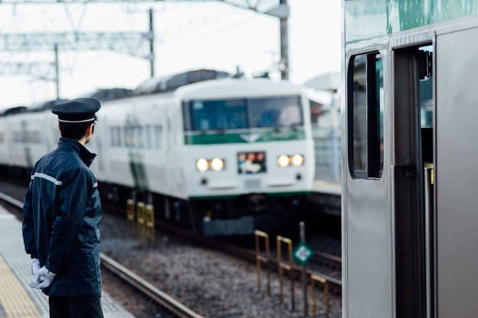 Through My Eyes Express Train Passed Waiting For A Train Train Crew Train - Vehicle Transportation Public Transportation Railroad Track Rail Transportation Mode Of Transport Railroad Station Only Men Railroad Station Platform One Person Railroad Car Morning Holiday Atomosphere Capture The Moment Life Is Beautiful From My Point Of View January January 2017 Kanagawa,japan
