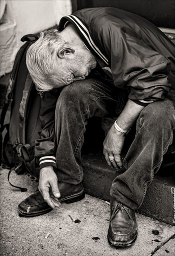 Exhaustion Addicted Homeless Homeless Man Sleeping Sitting Up Homelessness  Poverty Sleeping Rough