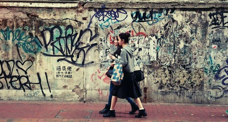 Everyday Joy Companion Friends Walking Together Streetphotography Outdoor Photography The Fashionist - 2015 EyeEm Awards Street Art/Graffiti The Street Photographer - 2015 EyeEm Awards People And Art