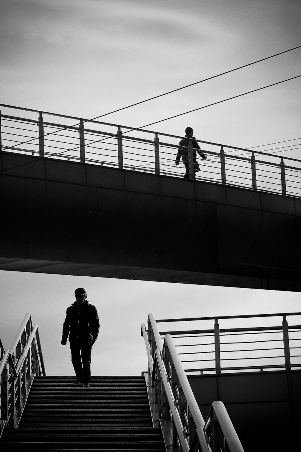 two orientations Black And White Overbridge Persons Divergency Outdoors Lifestyles City Life Sky Shanghai changfu promotes China overpasses