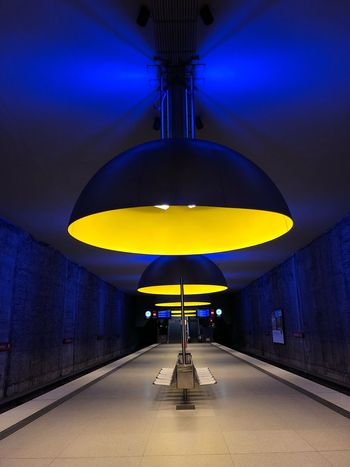 U-Bahn München/ Subway Munich Yellow Lamp Lamp München Munich Illuminated Indoors  The Way Forward Architecture Blue Built Structure No People