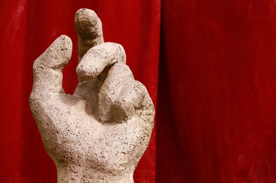 Art Is Everywhere Hand Fingers Red Background Human Hand Human Body Part Close-up Outdoor Red Day Cement Structure At My Home Made By Sister Sculptress