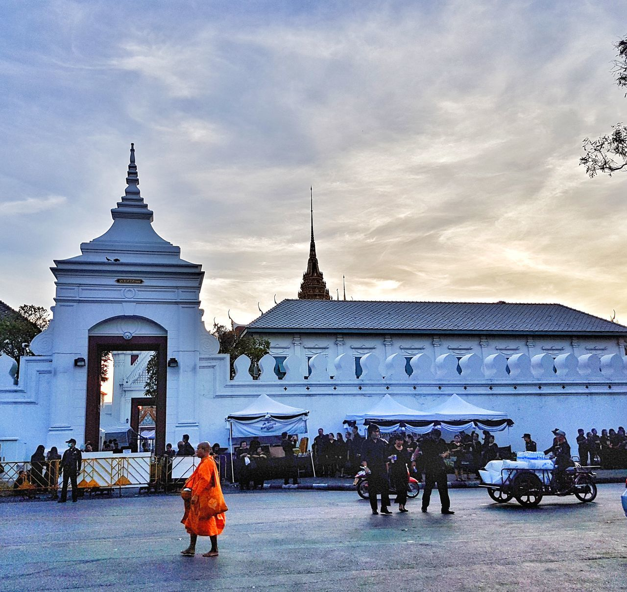Thailand Grand Palace Bangkok Thailand Monk  Sky And Clouds People Sadness Cultures Outdoors