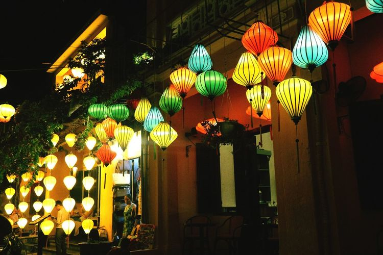 Decoration Lantern Illuminated Multi Colored Cultures Architecture Vietnam Travel Asian Culture Hoian, Vietnam Hoi An By Night Beautiful