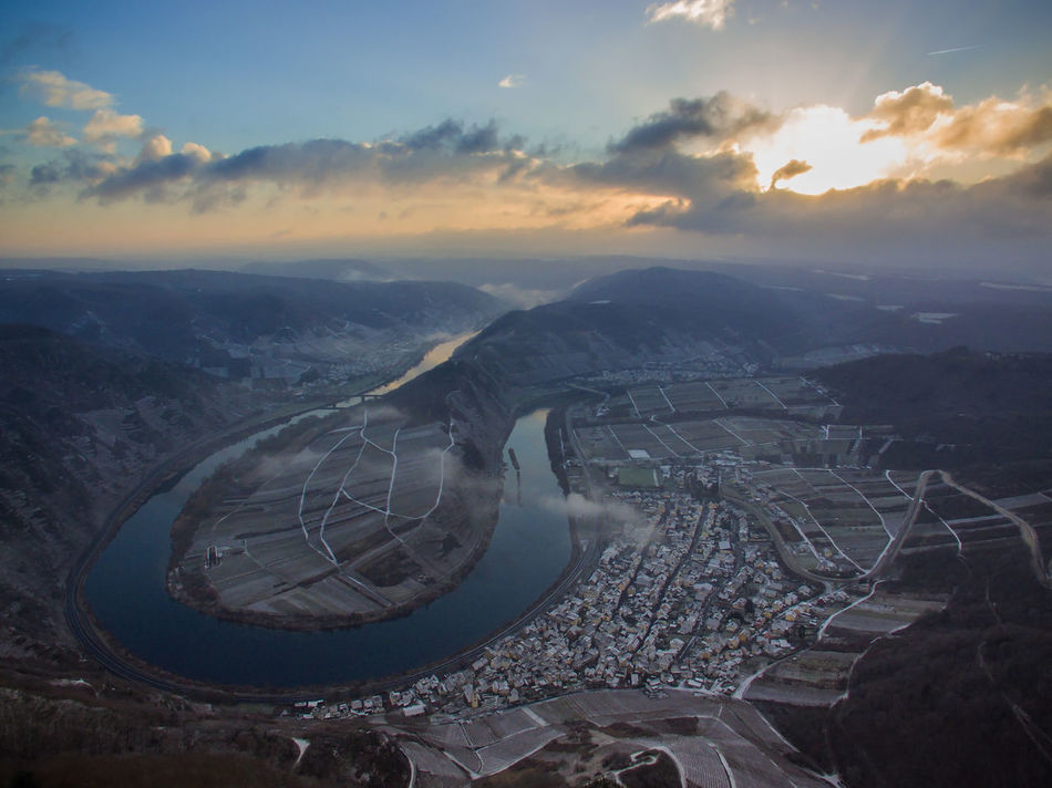 Moselschleife Aerial View Airplane Architecture Beauty In Nature Cloud - Sky Day Drohne EyeEmNewHere From Above  Landscape Landscape_Collection Loop Morning Mountain Mountain Range Nature Nature_collection No People Outdoors River Scenics Sky Sun Light Sunset Tranquility