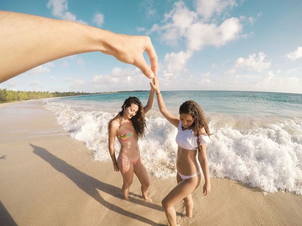 Time : 4:30 pm Adult Beach Beauty Bikini Bonding EyeEmNewHere Family Females Friendship Fun Happiness Human Body Part Outdoors People Relaxation Sand Sea Summer Togetherness Travel Two People Vacations Visual Effects Young Adult Young Women