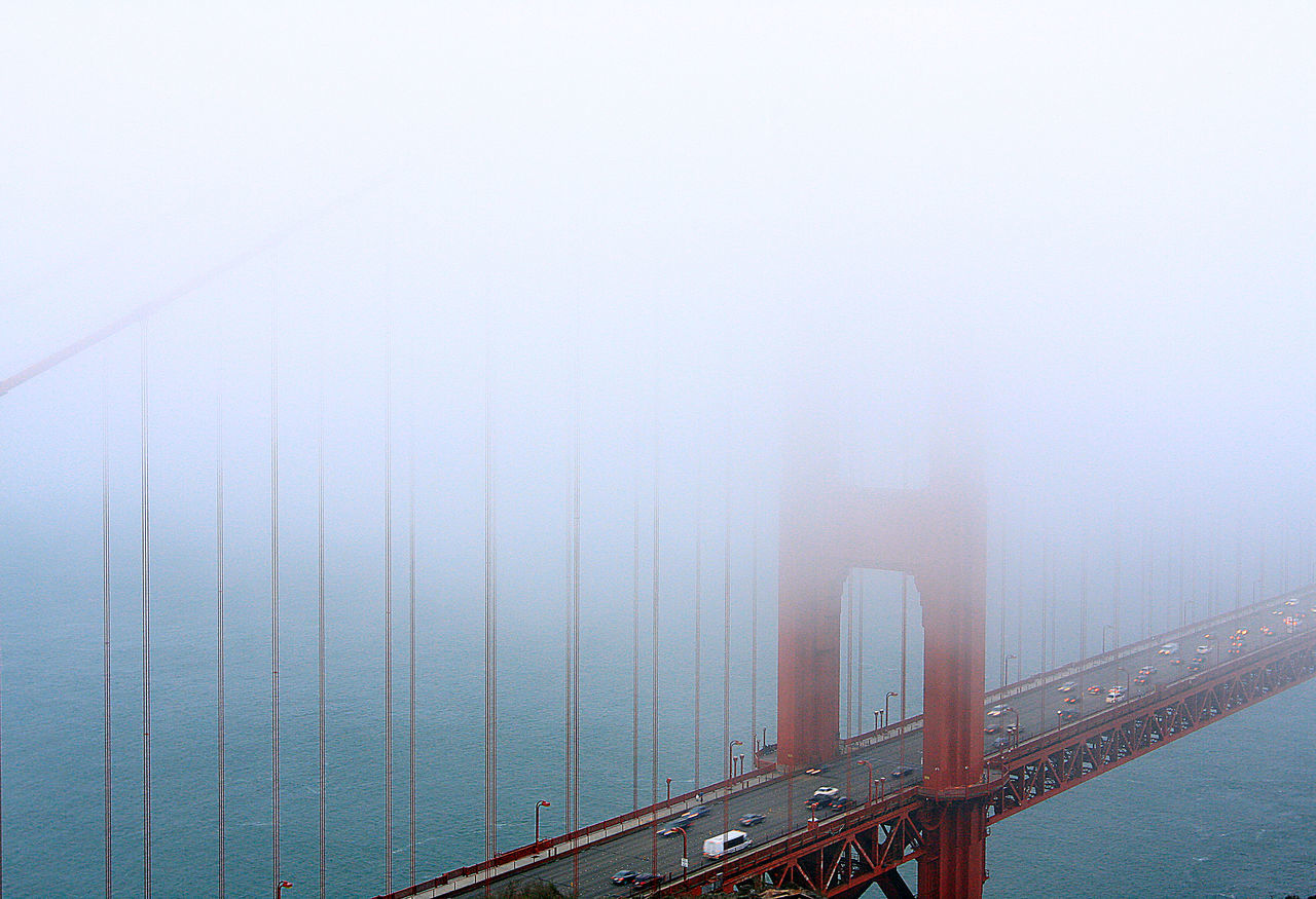 Through the fog The Calmness Within EyeEm Best Shots Melancholic Landscapes Seeing The Sights San Francisco Golden Gate Bridge Foggy Foggy Day Iconic Buildings Traffic Landscape Quintessential Queen Of Beauty Quality Photography In Motion Pastel Power Pastel Colors The Great Outdoors With Adobe The Great Outdoors - 2016 EyeEm Awards