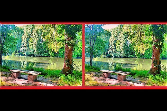 3D En Louchant Crosseyes Paysage En Balade Au Bord De L'eau Nature Sur Les Chemins 3D